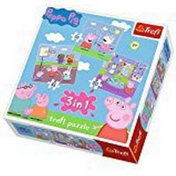 Trefl 34813 / Puzzle 3/in/1, Peppa Pig, Spielen in der Schule