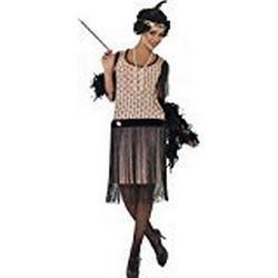 Smiffys, Damen 20er Coco Flapper Kostüm, Kleid, Zigarettenspitze, Halskette und Kopfschmuck, Größe: L, 28820