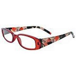 About Eyes Oread / G566 Dioptrien plus 1.50 Lesebrillen, wein roten Rahmen, Bügel mit einem Muster in milchig/weiß, rot und schwarz mit kostenlosem Etui