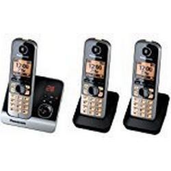 Panasonic KX/TG6723GB Trio Schnurlostelefon mit 2 zusätzlichen Mobilteilen (4,6 cm (1,8 Zoll) Display, Smart/Taste, Freisprechen, Anrufbeantworter) schwarz/silber