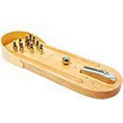 Tisch/Bowling  aus Buchenholz, Geschicklichkeitsspiel mit 10 Metallkegeln und 1 Metallkugel, Spielspaß für die ganze Familie, ab 3 Jahre