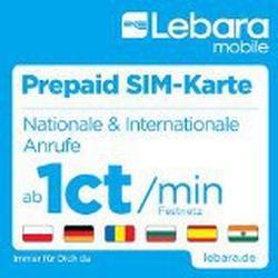 Lebara Prepaid/SIM/Karte mit 10 Euro Startguthaben