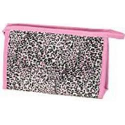 Sourcingmap Rechteck Leopard Muster Reißverschluss Kosmetiktasche mit Spiegel, Pink