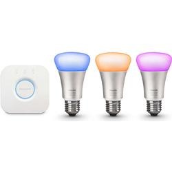 Philips Hue LED RGBW Starter Set - 3 x 10W A60 E27 mit Hue Bridge, 3. Generation