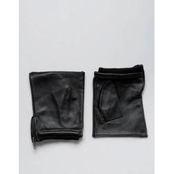 ASOS - Fingerlose, schwarze Lederhandschuhe - Schwarz