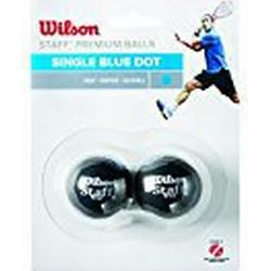 Wilson Squash/Ball, 2 Stück, Schnell, Anfänger, Blauer Punkt, Staff Premium Single Blue Dot, WRT617500, Schwarz