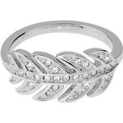 Gab & Ty by Jana Ina Accessoires Ringe  Ring Blatt mit weissen Zirkoniasteinen, silber plattiert Größe 17 1 Stk.