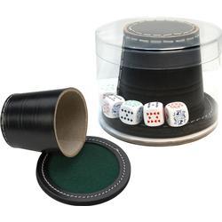 Poker Cup Black Leder + Deckel + Pokerchips - 9 x 8 cm
