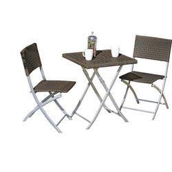 Garden Pleasure Balkon Set Tisch Stuhl Stühle Klapptisch Klappstuhl Rattan Optik