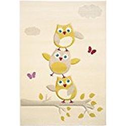 benuta Kinderteppich Fröhliche Eule Beige 120x170 cm | Teppich für Spiel/ und Kinderzimmer