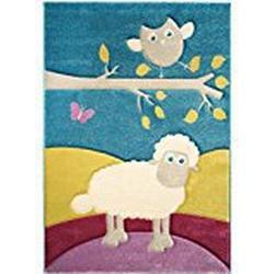 benuta Kinderteppich Eule und Schaf Multicolor 80x150 cm | Teppich für Spiel/ und Kinderzimmer