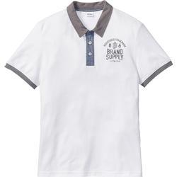 Poloshirt mit Druck Regular Fit kurzer Arm  in weiß für Herren von bonprix