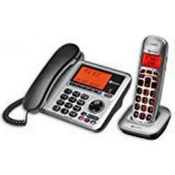 amplicomms BigTel 1480, Schnurgebundenes Großtastentelefon mit integriertem Anrufbeantworter und zusätzlich schnurlosem Mobilteil, Hörgerätkompatibel