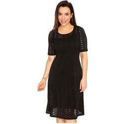 KIM & CO. Ajour-Jersey Kleid, 1/2-Arm Lochmuster Unterkleid