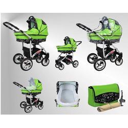 Larmax Kinderwagen Sommer-Set (Sonnenschirm, Autositz & Adapter, Regenschutz, Moskitonetz, Schwenkräder) 78 Schokolade & Sporty Dots