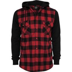 Urban Classics - HOODED Flanell Hemd rot - XL