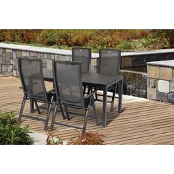 Hartman Alu Gartenset Gartenstuhl Gartentisch 5 tlg. 4 Klappsessel 1 Tisch Adelaide Gartenmöbel