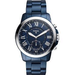 Fossil Herren Hybrid Smartwatch Q Grant / Edelstahl / Blau / Analoge Quarz Herrenuhr im klassischen & eleganten Stil mit Smartfunktionen / Für Android & iOS