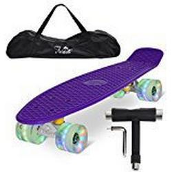 "Feldus 22"" Retro Skateboard Komplett Fertig Montiert mit Tasche und T/Tool (Deck Lila/ LED transparent Räder)"