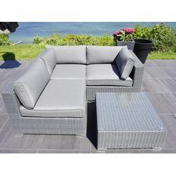 Polyrattan Lounge-Set I, 4 Module, Modularo, grau