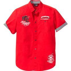 Kurzarmhemd Regular Fit in rot von bonprix