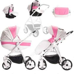 Friedrich Hugo Easy Comfort | 3 in 1 Kombi Kinderwagen Komplettset | Farbe: White Pink & Eco Leather