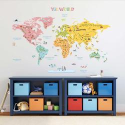Wandsticker bunte Weltkarte Landkarte Kontinente Meer