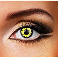 Funky Vision Kontaktlinsen / 12 Monatslinsen, Yellow WereWolf, Ohne Sehstärke, 1 Stück