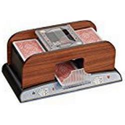 Relaxdays Kartenmischer elektrisch 2 Decks, Kartenmischmaschine Holz Optik, batteriebetrieben, für Poker u. Skat, natur