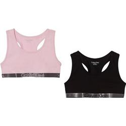 Calvin Klein 2 Pack of Pink and Black Branded Bralettes 10-12 years
