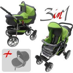 Jackmar | Gestell in Silber | Luftreifen in Weiß | 3 in 1 Kinderwagen Set | Farbe: Graphit & Grün