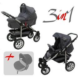 Jackmar | Gestell in Weiß | Luftreifen in Chrom | 3 in 1 Kinderwagen Set | Farbe: Graphit