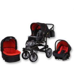 Tabbi MT1 BX | 3 in 1 Kinderwagen Komplettset | Farbe: Schwarz & Rot