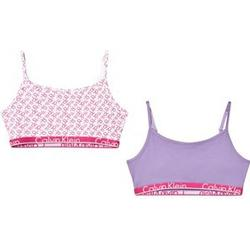Calvin Klein 2-Pack Pink/Lilac Branded String Bralettes 12-14 years