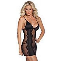 Coquette One Size Schwarz Sexy Kissable bestickt siehe durch Unterkleid