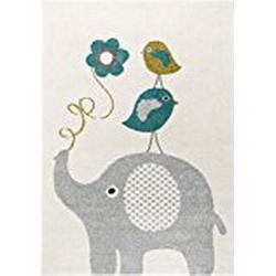 benuta Kinderteppich Birdies and Elephant Blau 120x170 cm | Teppich für Spiel/ und Kinderzimmer