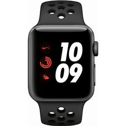 APPLE Watch Nike+ (GPS + Cellular) 38 mm Smartwatch Aluminium Hochleistungs-Fluorelastomer, 130 - 200 mm, Space Grau mit Nike Sportarmband Anthrazit/Schwarz