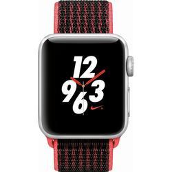 APPLE Watch Nike+ (GPS + Cellular) 38 mm Smartwatch Aluminium Nylon, 130 - 190 mm, Silber mit Nike Sport Loop Bright Crimson/Schwarz