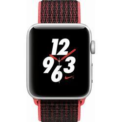 APPLE Watch Nike+ (GPS + Cellular) 42 mm Smartwatch Aluminium Gewebtes Nylon, 145 - 220 mm, Silber mit Nike Sport Loop Bright Crimson/Schwarz