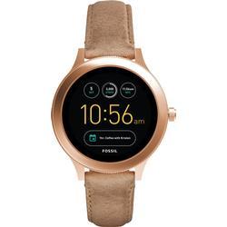 Fossil Damen Smartwatch Q Venture 3. Generation / Leder / Sand / Moderne Smartwatch mit Lederarmband im Vintage Design / Für Android & IOS