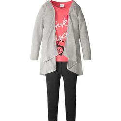 Shirt + Jacke + Leggings (3-tlg.) in grau für Mädchen von bonprix
