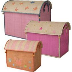 Rice Large Set of 3 Toy Baskets with Fairytale Theme Pink