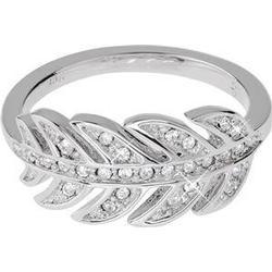 Gab & Ty by Jana Ina Accessoires Ringe  Ring Blatt mit weissen Zirkoniasteinen, silber plattiert Größe 18 1 Stk.
