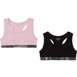 Calvin Klein 2 Pack of Pink and Black Branded Bralettes 14-16 years