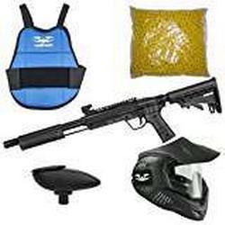 Valken Kinder Kids Tactical Gotcha Gun Inkl. MI/3 Maske, Brustpanzer, Loader 120 und 500 Cal. 50, 0.5 J Paintball Markierer Set, Smoke, M