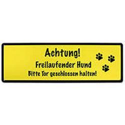 Warnschild - Aluverbund, Achtung! Freilaufender Hund ..