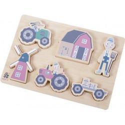 Sebra - Wooden chunky puzzle - Farm - Blue (3015102)