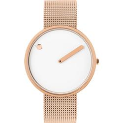 PICTO 40 mm White/Polished rose gold