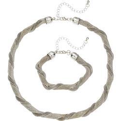 2-tlg. Set Kette und Armband in silber für Damen von bonprix