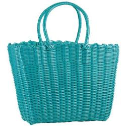 SHOPPING BAG: TURQUOISE, in plastic, 40 x 30 x 30 cm